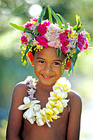 Native boy wearing flower crown. Tahiti