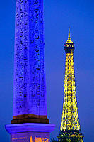 Concorde Obelisk and Eiffel Tower. Paris. France