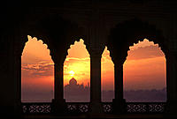 Taj Mahal from Agra fort. India