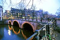 Bridge and bicylces. Amsterdam. Netherlands