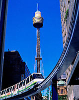 Monorail and Centrepoint Tower. Sydney. Australia