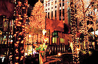 Christmas lights at Rockefeller Center. New York City. USA