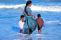 Family. Mahabalipuram. Bengal Bay. India