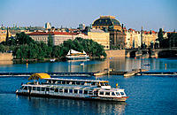 Vltava River and Legil Bridge. Prague. Czech Republic