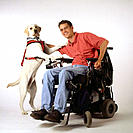 Man in wheelchair and guide dog