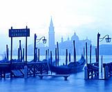 Gondolas at San Giorgio Maggiore island. Venice. Italy