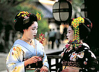 Two Maikos (geisha apprentices) chatting. Kyoto. Japan