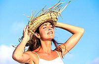 Woman on caribbean beach