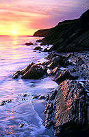 Sunset over the Pacific Ocean. Gaviota State Park. California. USA