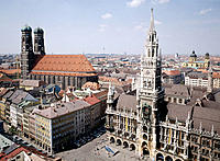 City Hall, cathedral and Marienplatz. Munich. Germany