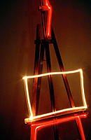 Neon light on easel