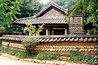 Replica of traditional farm structures. Korean folk village. South Korea