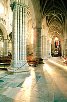 Interior of the Gothic cathedral (c. 1280). Exeter. Devonshire. England