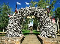 Arch of elk horns. Jackson Hole National Monument. Wyoming. USA
