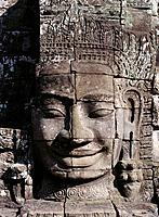 Smiling Buddah statue at temple complex of Angkor Thom. Angkor. Cambodia