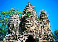 Detail of south gate of temple complex of Angkor Thom. Angkor. Cambodia