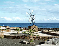 Spain, Canary Islands, Lanzarote, Costa Teguise, promenade, windmill