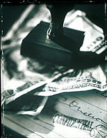 Rubber Stamp, Money and Cheque, B&W