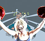 Photo-animation of woman in boxing ring