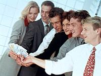 Geschäftsleute Gruppe Geld Euro Geldschein Euroschein