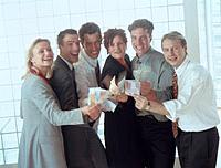Geschäftsleute Gruppe Geld Euro Geldschein Euroschein Porträt