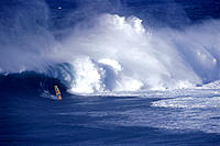 Hawaii Maui Jaws huge waves crashing whitewash with windsurfer D1209 catching foreground distance