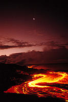 BigIsle, Hawaii Volcanoes National Park, moon over lava flow at dawn