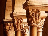 Detail of chapiters at cloister. Monastery of Sant Cugat del Vallès. Barcelona province. Spain