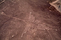 Nazca lines. Aerial photograph of a geoglyph, or landscape drawing, in the coastal desert of southern Peru. The white lines of this geoglyph represent...