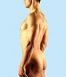 Nude man seen from the side.