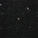 Andromeda starfield. Optical image of stars in the constellation Andromeda, the princess. The bright star at centre is Mirach (Beta Andromedae), with ...