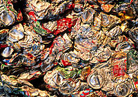 Aluminium recycling. Close-up view of compacted aluminium drinks cans awaiting recycling. The re- use of aluminium is one of the better examples of re...