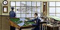 Airport control room. Historical artwork of men working in the control room at Croydon airport, England, in 1928. The navigation officer at centre is ...