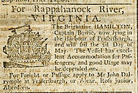 Passenger ship advertisement. Newspaper article advertising passage and freight carriage on the sailing ship Hamilton, due to travel from Scotland, UK...