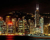 Victoria district at nigth, view from Kowloon. Hong Kong. China