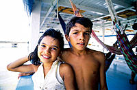 Children on boat. Amazon River. Brazil