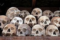 Skulls at the Killing Fields Memorial. Phnom Pehn. Cambodia