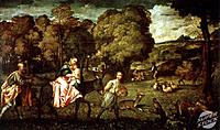Flight into Egypt Titian (Tiziano Vecelli) 1477/1489-1576 Venetian Hermitage Museum, St. Petersburg