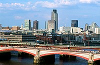 High angle view of an arch bridge across a river, Blackfriars Bridge, London, England