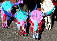 Close-up of painted animal skulls, Santa Fe, New Mexico, USA