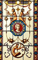 Close-up of a stained glass window, Parliament Building, Budapest, Hungary
