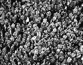 High angle view of a crowd of people standing
