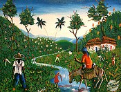 Farm in Haiti Roosevelt (b. 1952 Haitian) Oil on canvasPrivate Collection