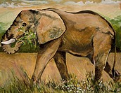 Kenya Safari, Elephant Samburu, by John Bunker, acrylic on canvas, 1997, 20th Century