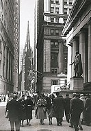 Crowd in a street in front of a stock exchange, New York Stock Exchange, Manhattan, New York City, New York, USA