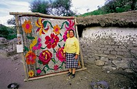 Woman showing her work with pride. Tuani. La Rioja province. Argentina