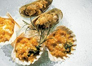 Scallops and Mussels au Gratin in the Shell