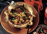 Spicy Bean Stew in a Tortilla Bowl