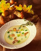A Bowl of Mushroom and Leek Soup