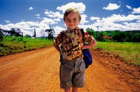 Child going to school. Alba Posse. Misiones province. Argentina